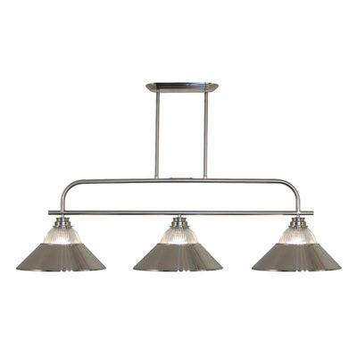 Clayton 3-Light Brushed Nickel Billiard Light
