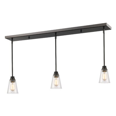 Clayton 3-Light Glass Kitchen Island Pendant Finish: Olde Bronze