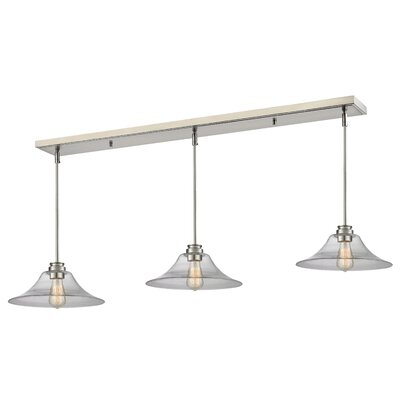 Clayton 3-Light Metal Kitchen Island Pendant Finish: Brushed Nickel