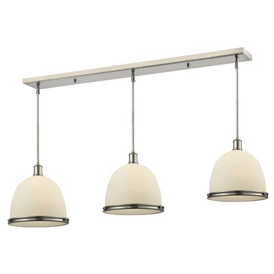 Marquise 3-Light Pool Table Light Finish: Brushed Nickel, Size: 13 H x 55 W x 13 D
