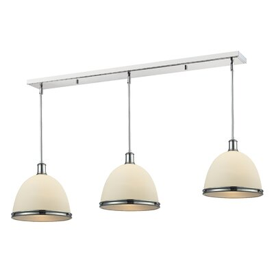 Marquise 3-Light Pool Table Light Finish: Chrome, Size: 9.75 H x 50 W x 8 D