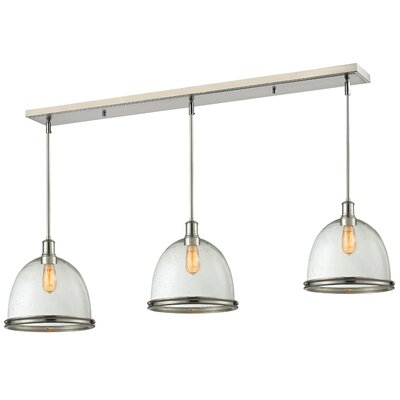 Marquise 3-Light Pool Table Light Finish: Brushed Nickel, Size: 14 H x 55 W x 13 D