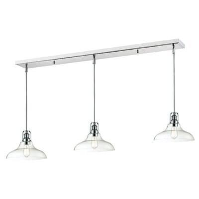 Lindley 3-Light Clear Glass Shade Kitchen Island Pendant Finish: Chrome