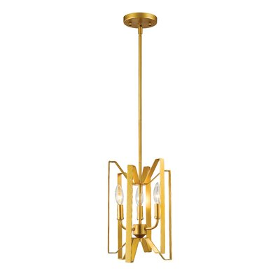 Fawcett 3-Light Foyer Pendant Finish: Polished Metallic Gold, Size: 14 H x 9 W x 9 D