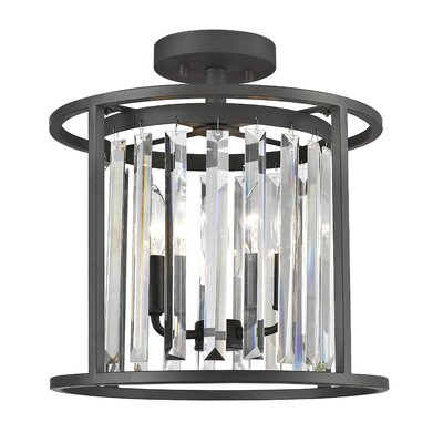 Chelvey 3-Light Semi Flush Mount Size: 14.5 H x 13.75 W x 13.75 D, Finish: Bronze