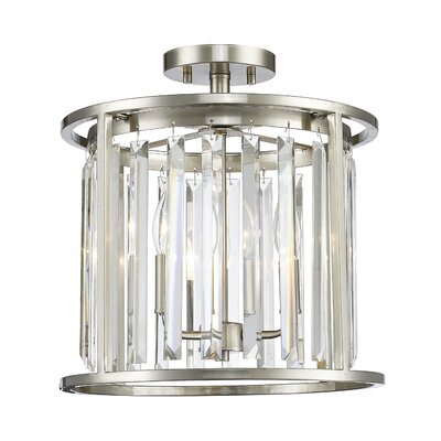 Chelvey 3-Light Semi Flush Mount Size: 14.5 H x 13.75 W x 13.75 D, Finish: Brushed Nickel