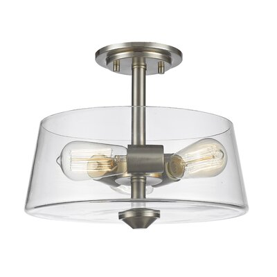Clayton 3-Light Drum/Cylinder Semi Flush Mount Finish: Brushed Nickel