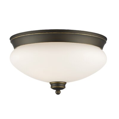 Casselman 2-Light Bowl Glass Shade Flush Mount Finish: Olde Bronze