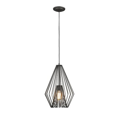 Risher 1-Light Mini Pendant Finish: Bronze, Size: 18.5 H x 12.25 W x 12.25 D