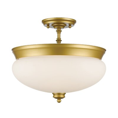 Casselman 3-Light Bowl Semi Flush Mount Finish: Satin Gold