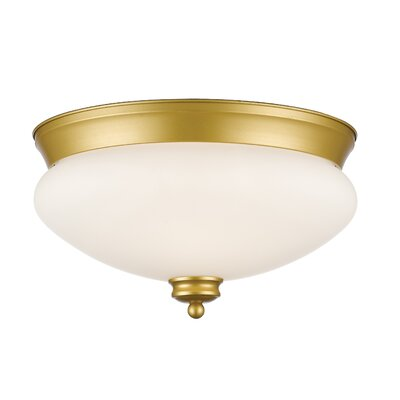 Amon 2-Light Flush Mount Finish: Satin Gold