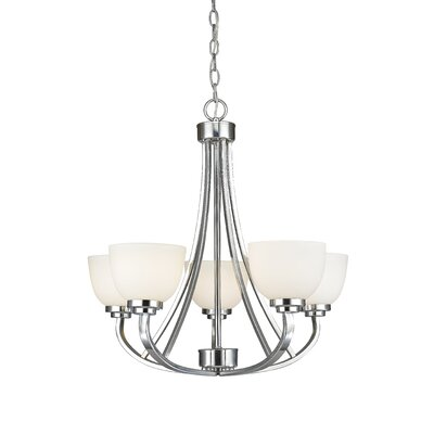 Kepner 5-Light Metal Shaded Chandelier Finish: Chrome