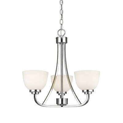 Kepner 3-Light Metal Shaded Chandelier Finish: Chrome