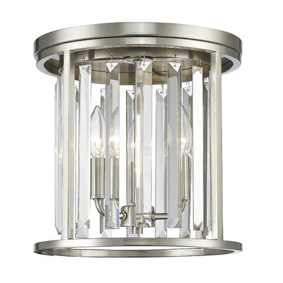 Chelvey 3-Light Flush Mount Finish: Brushed Nickel, Size: 11.88 H x 12 W x 12 D