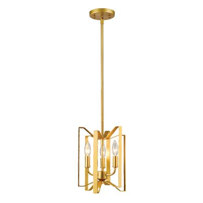 Fawcett 3-Light Foyer Pendant Finish: Polished Metallic Gold, Size: 12 H x 9 W x 9 D