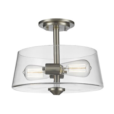Clayton 2-Light Drum/Cylinder Semi Flush Mount Finish: Brushed Nickel