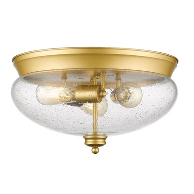 Casselman 3-Light Glass Shade Flush Mount Finish: Satin Gold