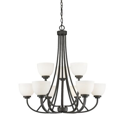 Kepner 9-Light Metal Shaded Chandelier Finish: Bronze