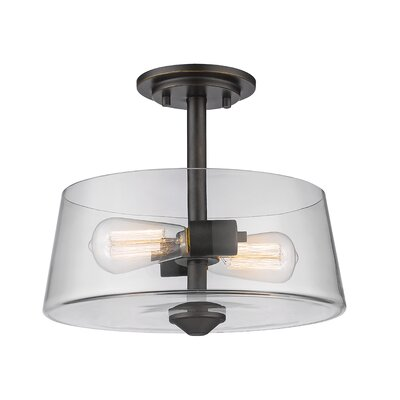 Clayton 2-Light Drum/Cylinder Semi Flush Mount Finish: Old Bronze