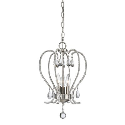 Patrice 3-Light Crystal Pendant Finish: Brushed Nickel