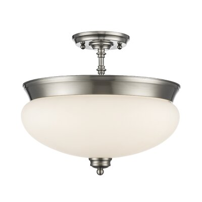 Casselman 3-Light Bowl Semi Flush Mount Finish: Brushed Nickel
