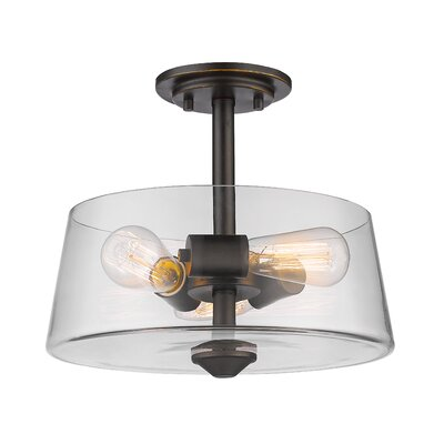 Clayton 3-Light Drum/Cylinder Semi Flush Mount Finish: Old Bronze
