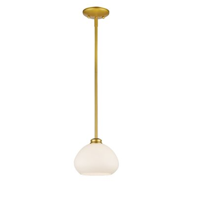 Amon 1-Light Mini Pendant Finish: Satin Gold, Size: 6.5 H x 8 W x 8 D