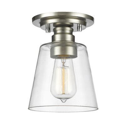 Clayton 1-Light Semi Flush Mount Finish: Brushed Nickel