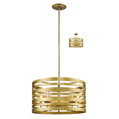 Fedele 5-Light Drum Pendant Finish: Satin Gold