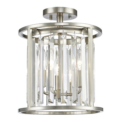 Chelvey 3-Light Semi Flush Mount Finish: Brushed Nickel, Size: 14.5 H x 11.75 W x 11.75 D