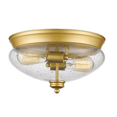Casselman 2-Light Glass Shade Flush Mount Finish: Satin Gold