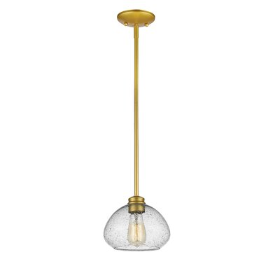 Casselman 1-Light Glass Shade Mini Pendant Finish: Satin Gold, Size: 6.5 H x 8 W x 8 D