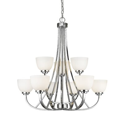 Kepner 9-Light Metal Shaded Chandelier Finish: Chrome