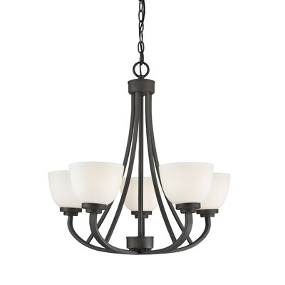 Kepner 5-Light Metal Shaded Chandelier Finish: Bronze