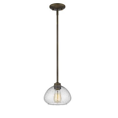 Casselman 1-Light Glass Shade Mini Pendant Finish: Olde Bronze, Size: 6.5 H x 8 W x 8 D