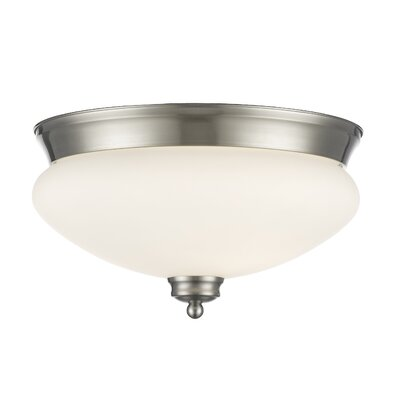Casselman 2-Light Bowl Glass Shade Flush Mount Finish: Brushed Nickel