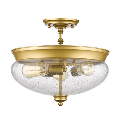 Casselman 3-Light Glass Shade Semi Flush Mount Finish: Satin Gold