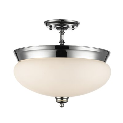 Casselman 3-Light Bowl Semi Flush Mount Finish: Chrome