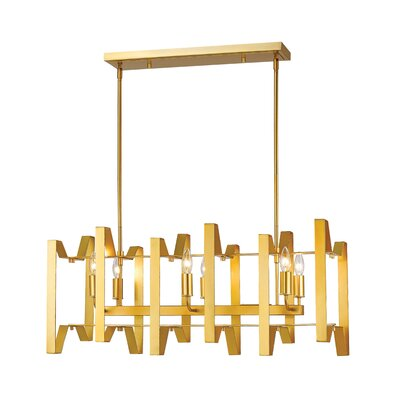 Fawcett 6-Light Kitchen Island Pendant Finish: Polished Metallic Gold