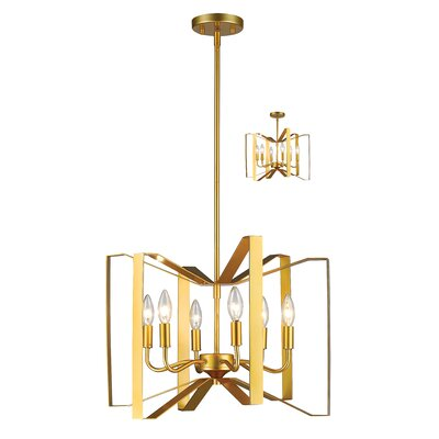 Fawcett 6-Light Foyer Pendant Finish: Polished Metallic Gold