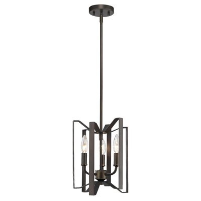 Fawcett 3-Light Foyer Pendant Finish: Bronze, Size: 12 H x 9 W x 9 D