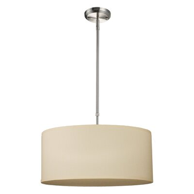 Albion 3-Light Drum Foyer Convertible Pendant Size: 9 H x 20 W, Finish: Off White