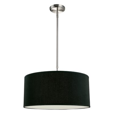 Boese 3-Light Drum Foyer Convertible Pendant Size: 10 H x 24 W, Finish: Black