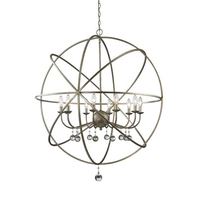 Acadia 10-Light Globe Pendant Base Finish: Antique Silver