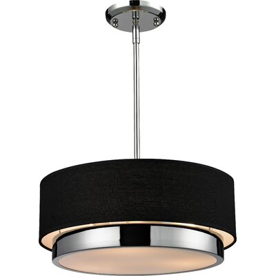 Josue 3-Light Drum Pendant Shade Color: Black