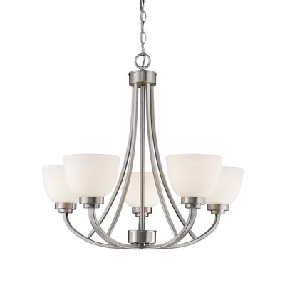 Kepner 5-Light Metal Shaded Chandelier Finish: Brushed Nickle