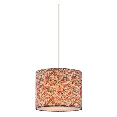 Chason 1-Light Drum Pendant Shade Color: Pink/Burgundy