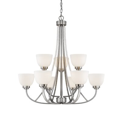 Kepner 9-Light Metal Shaded Chandelier Finish: Brushed Nickle