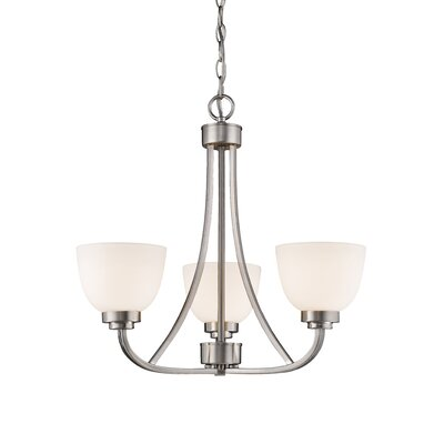 Ashton 3-Light Shaded Chandelier Finish: Brushed Nickle