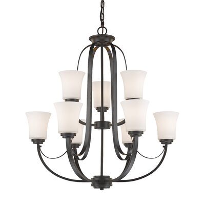 Halliwell 9-Light Shaded Chandelier Finish: Bronze